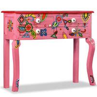 vidaXL kézzel festett pink, tömör mangófa konzolasztal