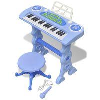Játék 37 billentyűs zongora székkel és mikrofonnal kék
