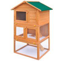 vidaXL kültéri 3-szintes fa nyúlketrec/kisállatketrec