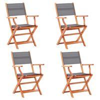 vidaXL 4 db szürke összecsukható tömör eukaliptuszfa és textilén szék