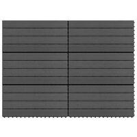vidaXL 6 db fekete WPC teraszburkoló lap 60 x 30 cm 1,08 m²