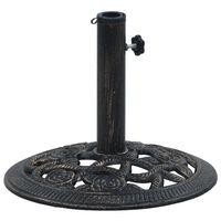 vidaXL fekete és bronzszínű öntöttvas napernyőtalp 9 kg 40 cm