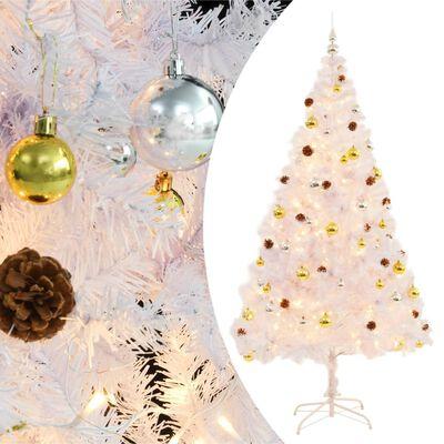 vidaXL fehér műfenyő karácsonyfa díszekkel és LED fényekkel 210 cm