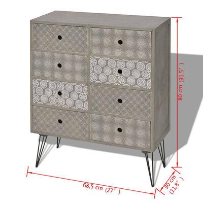 vidaXL szürke 8 fiókos szekrény