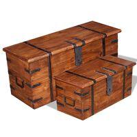 vidaXL 2-részes tömör fa tárolóláda készlet