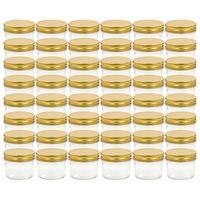 vidaXL 48 db 110 ml-es befőttesüveg aranyszínű tetővel
