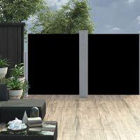 vidaXL fekete behúzható oldalsó napellenző 160 x 600 cm