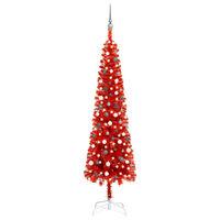 vidaXL piros vékony karácsonyfa LED-ekkel és gömbszettel 240 cm