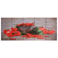 vidaXL többszínű paprikamintás nyomtatott vászon faliképszett 150x60cm