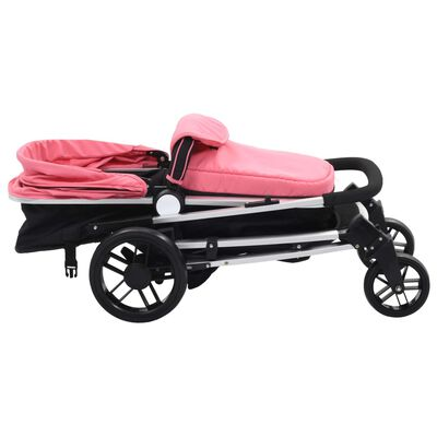 vidaXL rózsaszín és fekete 2 az 1-ben alumínium babakocsi/gyermekkocsi, Pink