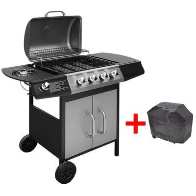 vidaXL fekete és ezüst gáz grillsütő 4+1 főzőfelülettel
