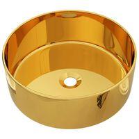 vidaXL aranyszínű kerámia mosdókagyló 40 x 15 cm