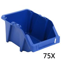 vidaXL 75 db kék színű rakásolható tárolódoboz 153 x 244 x 123 mm