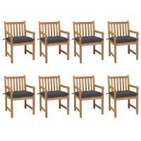 vidaXL 8 db tömör tíkfa kerti szék antracitszürke párnával