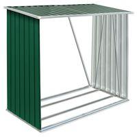 vidaXL zöld horganyzott acél kerti tűzifatároló 163 x 83 x 154 cm