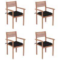 vidaXL 4 db tömör tíkfa kerti szék fekete párnával