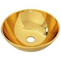vidaXL aranyszínű kerámia mosdókagyló 28 x 10 cm