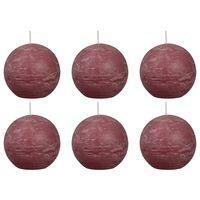 Bolsius 6 db fakó rózsaszín rusztikus gömbgyertya 80 mm