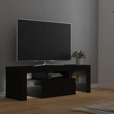 vidaXL fekete TV-szekrény LED-lámpákkal 120 x 35 x 40 cm