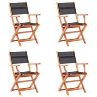 vidaXL 4 db fekete összecsukható tömör eukaliptuszfa és textilén szék