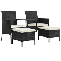 vidaXL fekete 2-személyes polyrattan kerti fotel asztallal/zsámolyokkal