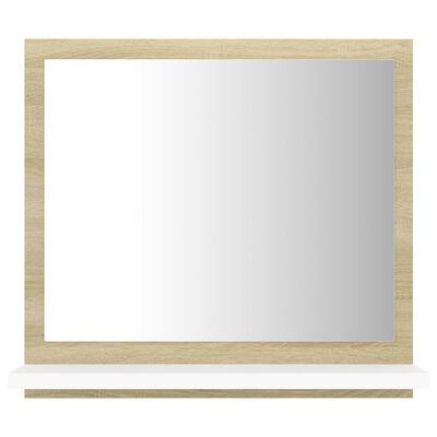 vidaXL fehér és sonoma színű forgácslap fürdőszobai tükör 40x10,5x37cm