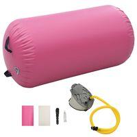 vidaXL rózsaszín PVC felfújható tornahenger pumpával 100 x 60 cm