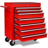 vidaXL 7 fiókos piros munka szerszámkocsi