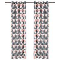vidaXL 2 db szürke és rózsaszín pamutfüggöny fémgyűrűkkel 140 x 245 cm