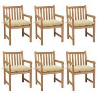 vidaXL 6 db tömör tíkfa kerti szék krémszínű párnákkal