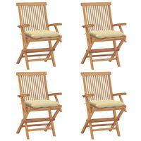 vidaXL 4 db tömör tíkfa kerti szék krémfehér párnával
