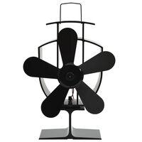 vidaXL fekete hővel meghajtott ötlapátos kandalló ventilátor