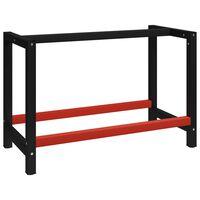 vidaXL fekete és piros fém munkapadváz 120 x 57 x 79 cm