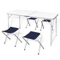 Összecsukható alumínium kempingasztal szett 4 székkel 120 x 60 cm