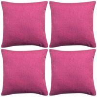 vidaXL 4 db 40x40 cm vászon-jellegű párnahuzat rózsaszín
