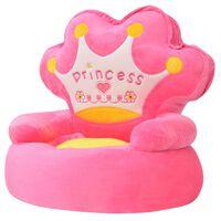 """vidaXL rózsaszín plüss gyerekszék """"princess"""" felirattal"""