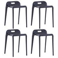 vidaXL 4 db fekete műanyag rakásolható szék