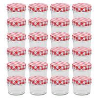 vidaXL 24 db 110 ml-es befőttesüveg piros-fehér tetővel
