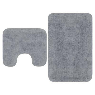 vidaXL 2 darabos szürke szövet fürdőszobaszőnyeg-garnitúra