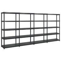 vidaXL fekete műanyag 5 szintes tárolópolc 366 x 45,7 x 185 cm