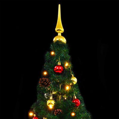 vidaXL zöld műfenyő karácsonyfa díszekkel és LED fényekkel 150 cm