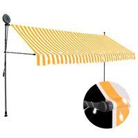 vidaXL fehér-narancssárga kézzel kihúzható LED-es napellenző 400 cm
