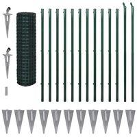 vidaXL zöld euro acélkerítés 25 x 1,7 m