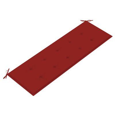 vidaXL tömör tíkfa kerti pad piros párnával 150 cm