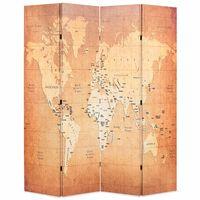 vidaXL sárga világtérkép mintás paraván 160 x 170 cm