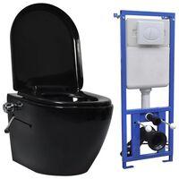 vidaXL  fekete kerámia falra szerelhető perem nélküli WC tartály