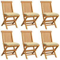 vidaXL 6 db tömör tíkfa kerti szék krémfehér színű párnával
