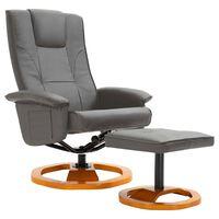 vidaXL szürke műbőr elforgatható TV-fotel lábzsámollyal
