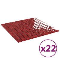 vidaXL 22 db piros öntapadó üveg mozaikcsempe 30 x 30 cm