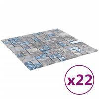 vidaXL 22 db szürke-kék öntapadó üveg mozaikcsempe 30 x 30 cm